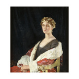 Portrait of Nancy Oswald Smith, Seated Half Length, in a Red Fur-Lined Coat, 1915 Gicleetryck av Sir William Orpen