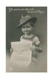 Postcard of a German Boy, Reading Newspaper, 1913 Impression giclée par  German photographer