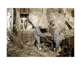 Two French Soldiers Working in a Forge Destroyed by Grenades, Reims, France, 1917 Giclee Print by Fernand Cuville
