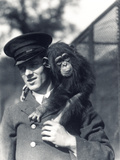 Keeper F. Shelly with Chimpanzee Johnnie or Marco at ZSL London Zoo Photographic Print by Frederick William Bond