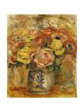 Flowers in a Blue and White Vase; Fleurs Dans Un Vase Bleu et Blanc, 1915 Giclee Print by Pierre-Auguste Renoir