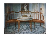 Carved Satinwood Barback Settee. Painted and Gilt Table Giclee Print by Edwin John Foley