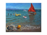 Yellow Buoy and Red Sails, Abersoch, 2012 Giclee Print by Andrew Macara