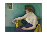 Young Woman Seated in Profile, 1914 Giclee Print by Felix Edouard Vallotton
