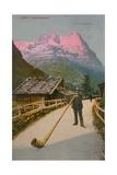 Postcard of an Alphorn Blower, Sent in 1913 Giclee Print by  Swiss photographer