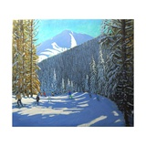 Skiing, Beauregard La Clusaz, 2012 Giclee Print by Andrew Macara