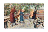 Jesus Labouring at Home with Joseph and Mary Giclee Print by Corwin Knapp Linson
