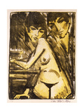Couple at a Table (Self Portrait with Maschka - Absinthe Drinker); Paar Am Tisch (Selbstbildnis… Giclee Print by Otto Muller or Mueller