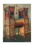 The Sisters Inlaid Double Secretaire and Bookcase Cabinet - Sheraton, Circa 1800 Giclee Print by Edwin John Foley