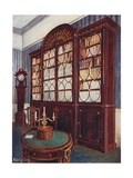 Inlaid Mahogany Break-Front Bookcase. Mahogany Pedestal Centre Table. Mahogany High-Case Clock Giclee Print by Edwin John Foley