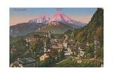 Watzmann Mountain in Berchtesgaden, Germany. Postcard Sent in 1913 Stampa giclée di  German photographer