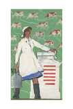 Kolkhoz Milk-Maid and Five Year Plan, 1967 Giclee Print by Vadim Petrovich Volikov