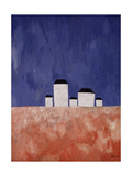Landscape with Five Houses, c.1932 Giclée-tryk af Kasimir Malevich