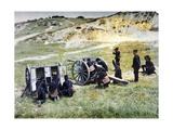 French Soldiers with a Mortar During the Battle of the Marne East of Paris, September 1914 Giclee Print by Jules Gervais-Courtellemont