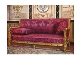 Carved Gilt Couch Covered in Rose Brocade de Lyons Giclee Print by Edwin John Foley