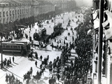 Demonstration in St Petersburg Against the Lena Massacre in Siberia, April 1912 Fotografisk tryk af Russian Photographer
