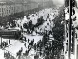 Demonstration in St Petersburg Against the Lena Massacre in Siberia, April 1912 Fotografisk tryk af  Russian Photographer