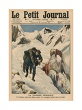 An Heroic Round, an Alpine Postman Rescuing a Traveller Stuck in the Snow, Front Cover… Giclee Print by  French School