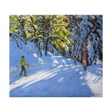Skiing Through the Woods, La Clusaz, 2012 Giclee Print by Andrew Macara