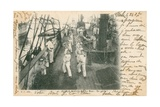 Trainee Sailors at a French Naval School Having a Boxing Lesson on Deck. Postcard Sent in 1913 Giclee Print by  French Photographer