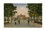Brandenburg Gate in Berlin, Germany. Postcard Sent in 1913 Giclee Print by  German photographer