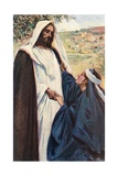 Meeting of Jesus and Martha Giclee Print by Corwin Knapp Linson