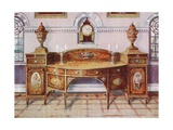 Painted and Inlaid Satinwood Sideboard. Mahogany Bracket Clock Giclee Print by Edwin John Foley