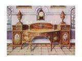 Painted and Inlaid Satinwood Sideboard. Mahogany Bracket Clock Giclee Print by Edwin John Foley