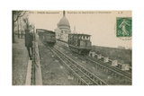 Funicular Railway Up Montmartre to the Sacre-Coeur in Paris. Postcard Sent in 1913 Giclee Print by  French Photographer