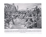 Landing of Julius Caesar, Illustration from 'Hutchinson's History of the Nations', c.1910 Giclee Print by W.P. Caton Woodville