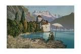 Man Painting Chateau de Chillon on the Shore of Lake Geneva. Postcard Sent in 1913 Giclee Print by  Swiss photographer