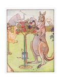 And the Kangaroo Tried to Paint the Roses Blue, Illustration from 'Johnny Crow's Party', c.1930 Giclee Print by Leonard Leslie Brooke