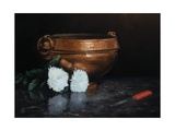 Copper Planter, Chrysanthemums and Knife, 2011 Giclee Print by James Gillick