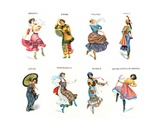 Dancers of the World, Cigarette Cards, 1915 Giclee Print by  English School