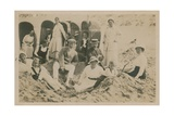 Family at the Seaside. Postcard Sent in 1913 Giclee Print by  English Photographer