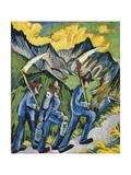 Alpleben, Triptych; Alpleben, Triptychon, 1918 Giclee Print by Ernst Ludwig Kirchner