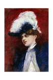 Elegant Woman with Feather Hat; Elegante Dame Mit Federhut, c.1905 Giclee Print by Lesser Ury