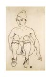 Seated Nude with Shoes and Stockings; Sitzende Akt Mit Schuhen Und Strumpfen, 1918 Giclee Print by Egon Schiele