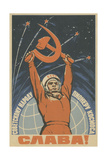 Hail the Soviet People - the Pioneer of Space, 1963 Giclee Print by Vadim Petrovich Volikov