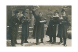 Postcard of Germans Singing in the New Year, Sent on 31st December 1913 Giclee Print by  German photographer