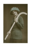 Postcard of a Young Woman Carrying a Hockey Stick over Her Shoulder, Sent in 1913 Giclee Print by  French Photographer