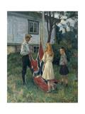 Children Raise the Norwegian Flag, 1910 Giclee Print by Thorolf Holmboe