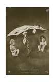 Happy New Year Card with Two Babies Hanging from an Umbrella, Sent in 1913 Giclee Print by  French Photographer