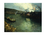 Evening, Factories on the River, 1923 Giclee Print by Aaron Henry Gorson