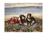Gathering Flowers by the Seashore, 1919 Giclee Print by Edward Atkinson Hornel
