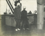 The 13 Year Old Maharaja of Jodhpur with His Guardian Thakur Dhokal Singh (Left) on Board P&O RMS… Photographic Print by  English Photographer