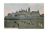 Le Kursaal and the Beach in Ostend in Belgium. Postcard Sent in 1913 Giclee Print by  Belgian Photographer