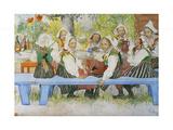 Kersti's Birthday, 1909 Giclée-tryk af Carl Larsson
