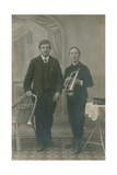 Postcard of Two Young Men with Trumpets, One in Heilsarmee Uniform, Sent in 1913 Giclee Print by  German photographer