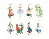 European Dancers, Cigarette Cards, 1915 Giclee Print by  English School